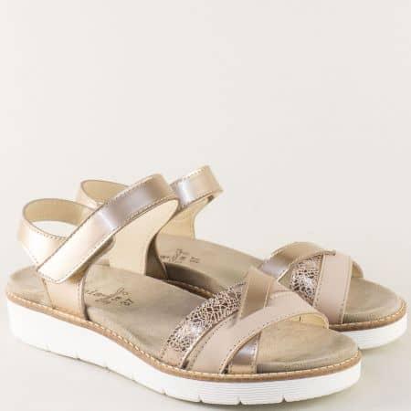 Анатомични дамски сандали от естествена кожа в злато nora03brz