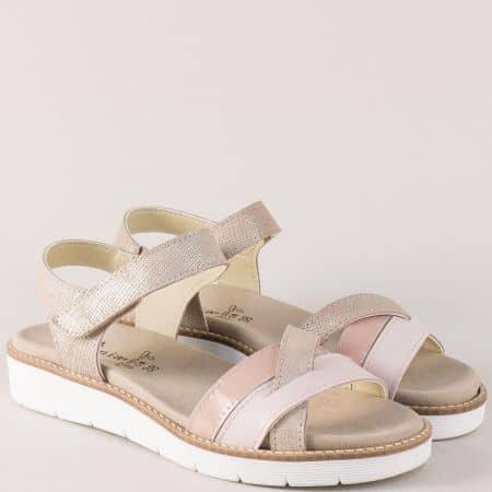 Дамски сандали в бежово и розово с анатомична стелка nora03rz