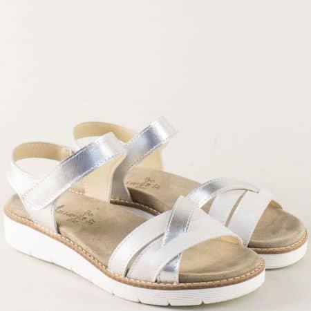 Дамски сандали от естествена кожа в бяло и сребро  nora03sr