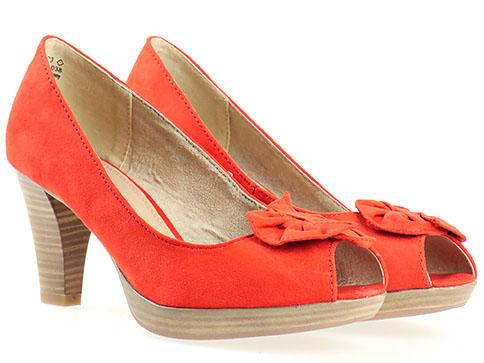 Обувки на висок ток Marco Tozzi, изработени от висококачествен текстил в червен цвят 229302vchv