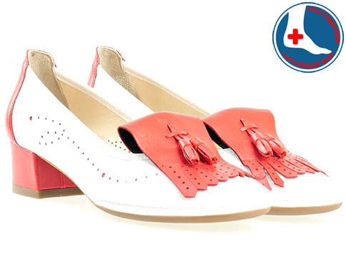 Комфортни дамски обувки от естествена Naturelle бяло и червено z695710bchv