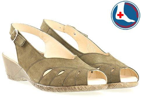 Дамски сандали от зелен естествен набук- Naturelle z9952k