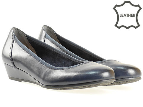 Сини дамски обувки на клин ходило от естествена кожа 822204s