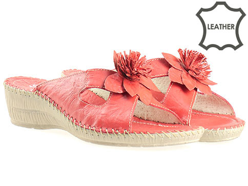 Ортопедични дамски чехли от естествена кожа в червен цвят, произведени в Пещера 8469chv