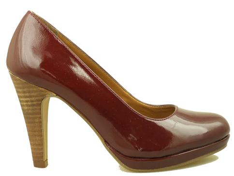 Елегантни, луксозни дамски обувки S.Oliver от еко лак в цвят бордо 522400lbd