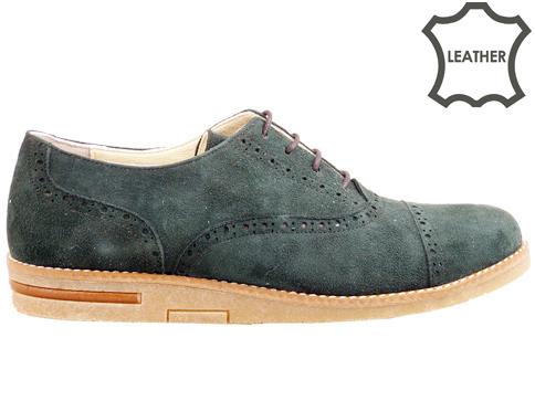 Равни дамски обувки с връзки, изработени от естествен велур 133511vz