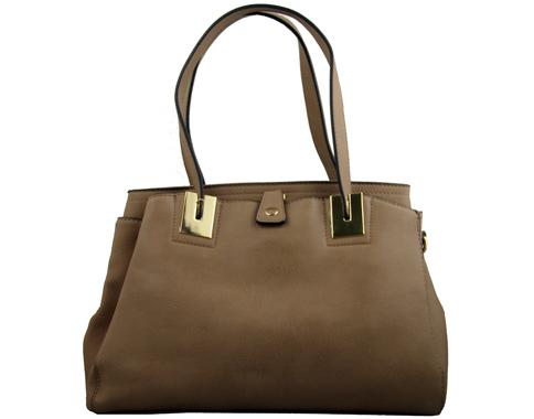 Дамска чанта с изчистена визия, изработена от тъмно кафява еко кожа 34361kk