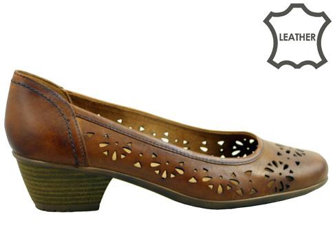 Стилен, изчистен модел немски обувки Jana, изработен от естествена кожа с лазерна перфорация 822307kk