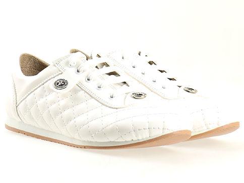 Дамски спортни обувки с ефектна визия и декоративни шевове, изпълнени в бял цвят 583b