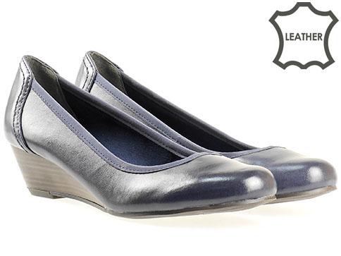 Обувки на клин ходило Marco Tozzi, от 100% естествена кожа в син цвят 222313s