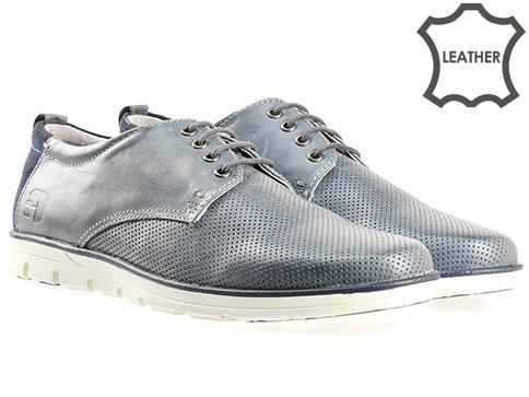 Комфортни мъжки обувки S.Oliver с връзки, изработени от синя естествена кожа 513207s