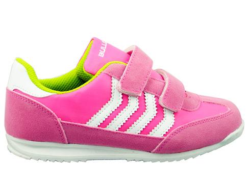 Удобни детски маратонки на марката Bulldozer с две лепенки в розов цвят v8201-35rz