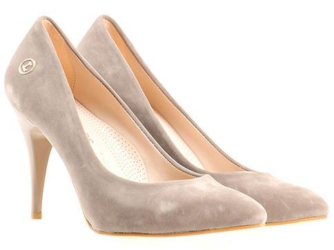 Велурени бежови обувки на висок ток m1500vk