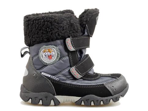 Детски апрески с грайферно ходило в черен цвят с топъл хастар 8368-30ch