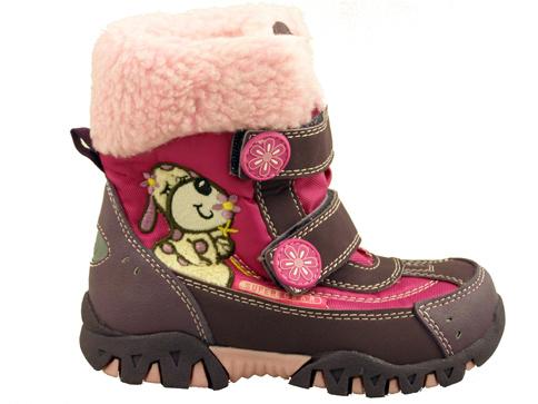 Комфортни детски апрески за момичета в лилав цвят с весела апликация 8459-30l