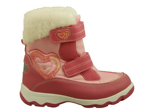 Удобни и топли детски боти с две лепенки в розов цвят за момичета 9073-35rz