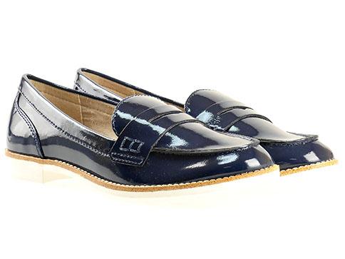 Комфортни дамски обувки Tamaris, дизайнерски модел изработени от висококачествен еко лак в син цвят 124205ls