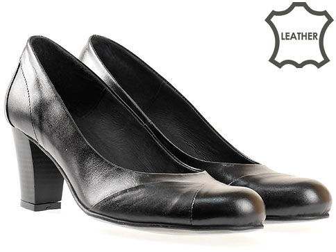 Дамски обувки със изчистен дизайн, произведени в България от черна естествена кожа 30306ch
