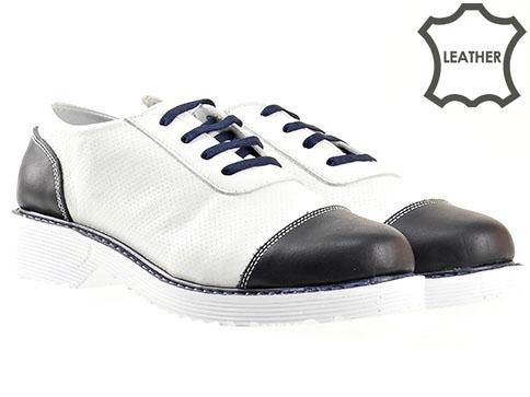 Анатомични дамски обувки с комфортно ходило, изпълнени в бяло - синя цветова комбинация 907bs