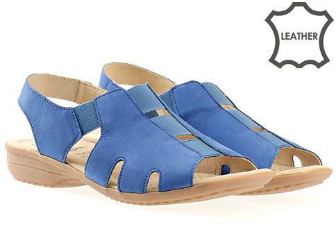 Дамски сандали от изцяло естествена кожа с ластици на комфортно меко ходило в син цвят 928656ns