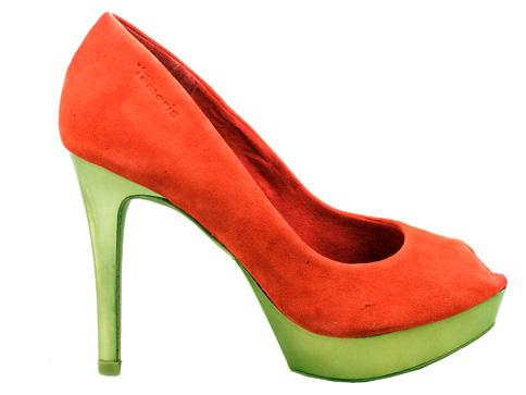 Елегантни дамски обувки с отворени пръсти Tamaris на комфортен висок ток  122465vchv