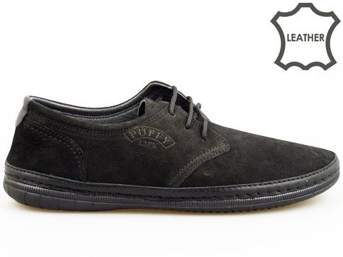 Меки и удобни мъжки обувки с връзки в черен цвят 728nch