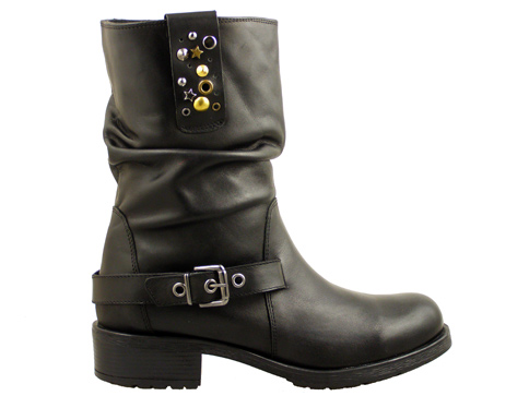 Дамски боти със солидно грайферно ходило, изпълнени от черна естествена кожа 33304ch