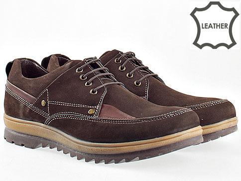 Ежедневни мъжки обувки от естествен велур в тъмни кафяв цвят с комфортно грайферно ходило 2001vk