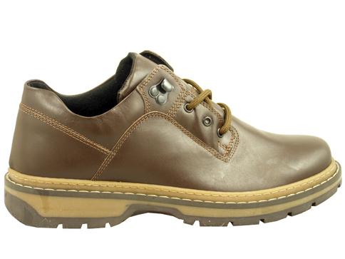 Ежедневни мъжки обувки с грайферно ходило, изработени от тъмно кафява естествена кожа 073300kk