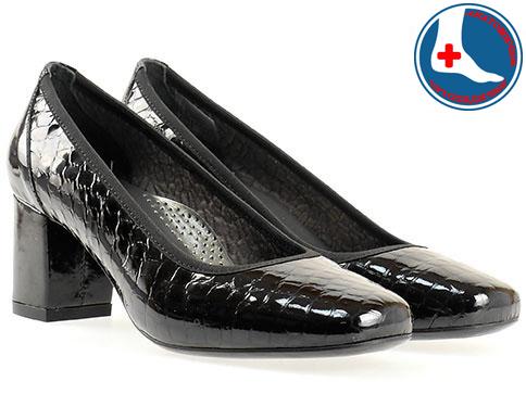 Анатомични дамски обувки Naturelle, изработени от естествена кожа с кроко принт и лак z1522klch