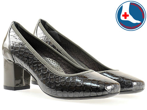 Анатомични дамски обувки Naturelle, изработени от естествена кожа с кроко принт и лак z1522klsv