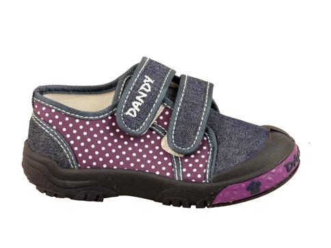 Детски текстилни обувки за момичета в лилав цвят с две лепенки 17813s