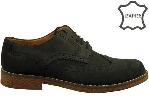 """Стилни мъжки обувки тип """"Оксфорд"""" в тъмно черен цвят 02nch"""