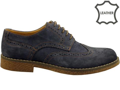 """Стилни мъжки обувки тип """"Оксфорд"""" в син цвят 02ns"""