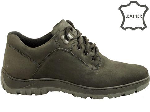 Ежедневни мъжки обувки със солидно грайферно ходило, произведени от черен естествен набук 073nch