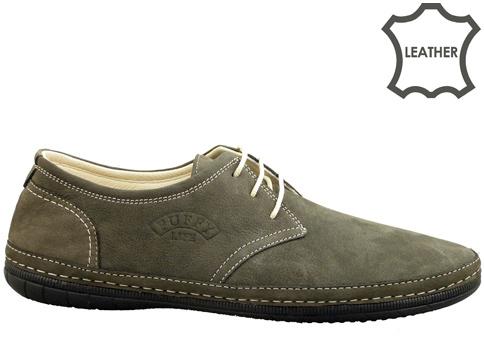 Меки и удобни мъжки обувки с връзки в тъмно сив цвят 728nsv