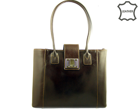 Изискан модел елегантна дамска чанта с метална закопчалка, изработена от тъмно кафява естествена кожа a29kk