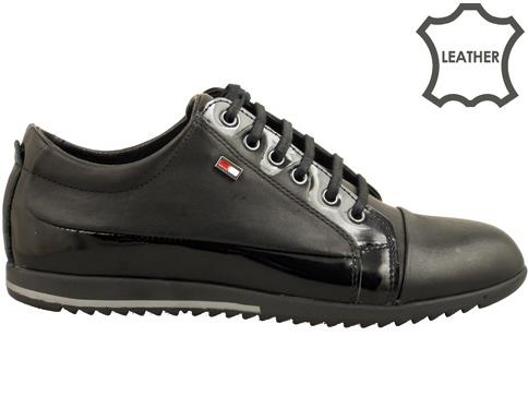 Модерни мъжки обувки, спортен тип  с връзки в черен цвят 275ch