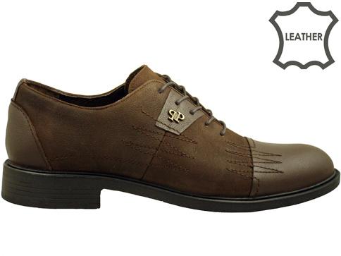 Комфортни мъжки обувки с връзки, изработени от естествен тъмно кафяв набук с интересни декоративни шевове 2772nkk
