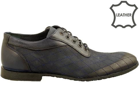 Иновативен модел мъжки обувки с множество декоративни шевове, изработени от син набук 2907ns