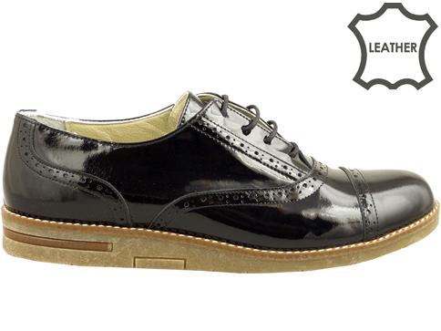 Равни дамски обувки с връзки, изработени от естествен лак 133511lch