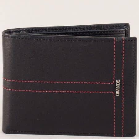 Черен мъжки портфейл с две прегради от естествена кожа  p1717ch