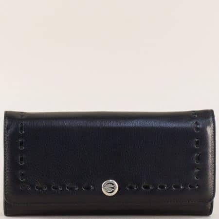 Черен дамски портфейл с три прегради от естествена кожа p2720ch