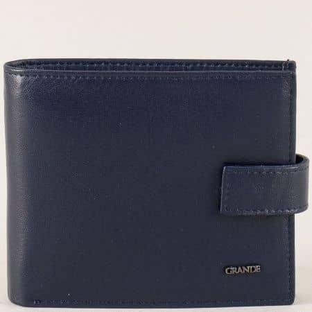 Кожен мъжки портфейл със закопчалка в син цвят p3103s