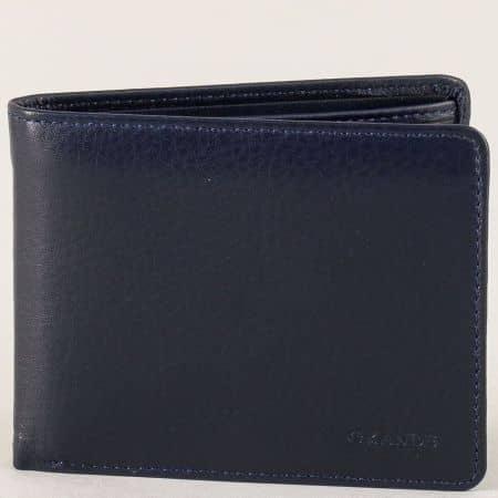 Мъжки портфейл от естествена кожа в тъмно син цвят p504s