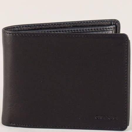 Кожен мъжки портфейл с две прегради в черно p506ch