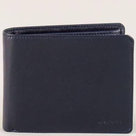 Кожен мъжки портфейл с две прегради в син цвят p506s