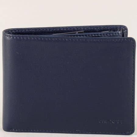 Мъжки портфейл от естествена кожа в син цвят p508s