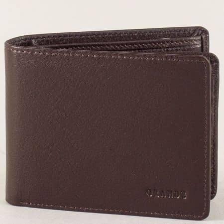 Мъжки портфейл от тъмно кафява естествена кожа p510k