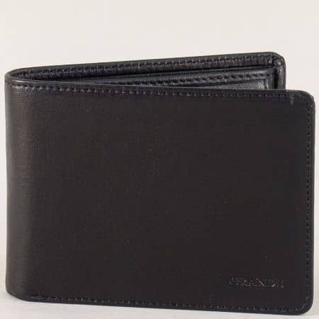 Мъжки портфейл от естествена кожа с две прегради в черно p513ch